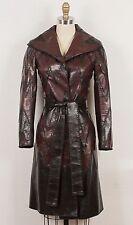 J. Mendel Black & Dark Brown Chevron Zig-Zag Leather Belted Coat Jacket XS 0/2/4