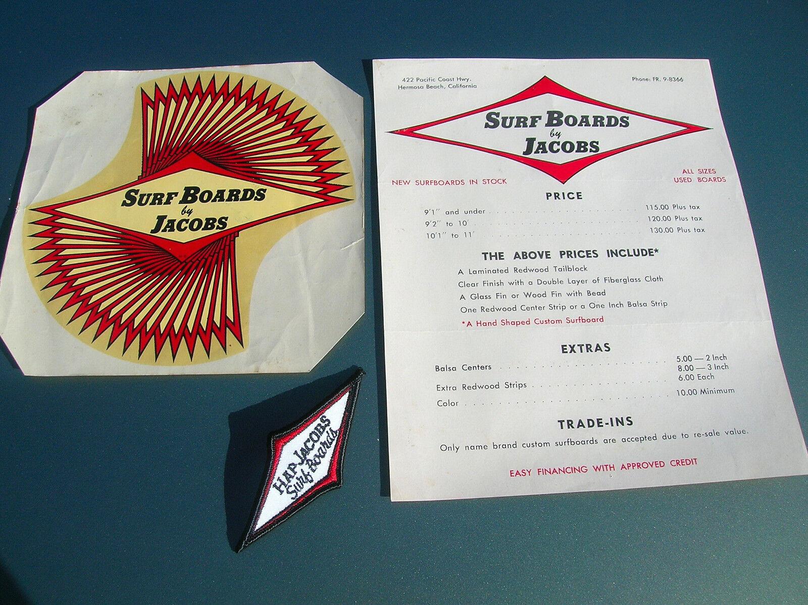 Vintage Hap Jacobs Surf Tabla De Surf 1960s agua diapositiva calcomanía Parche de lista de precios