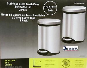 Sensible Eco Living 1 56 Gal 2pack Stainless Steel Trash