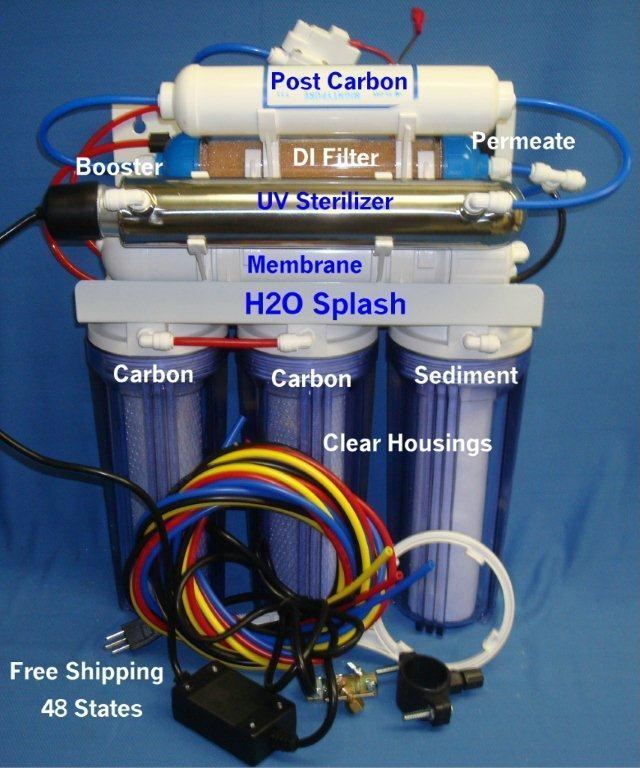 Clear Reverse Osmosis System 75GPD 7 Stage RO DI UV Booster Permeate