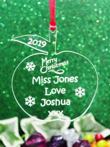 Personalised Teacher Joyeux Noël Cadeau Décoration Souvenir de différentes formes