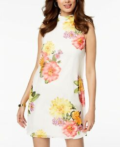 3725710a6f87 $209 JESSICA HOWARD WOMEN'S WHITE FLORAL MOCK-NECK SHIFT COCKTAIL ...