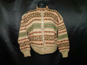 Vintage-Marle-Design-Norway-M-Brown-Red-Green-Wool-Cardigan-Sweater-Nordic-Knit
