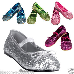 S32-Glitter-Ballerina-Fairy-Tinkerbell-Cinderella-Princess-Child-Girl-Shoes-Flat