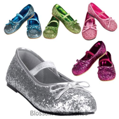 S32 Glitter Ballerina Fairy Tinkerbell Cinderella Princess Child Girl Shoes Flat