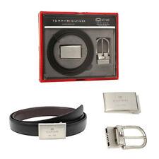 Tommy Hilfiger Men Black Brown Leather Reversible Belt Buckle Set 08463017