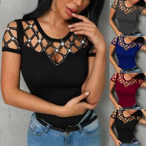 Fashion-Women-Shirt-O-Neck-Short-Sleeve-Hollow-Out-Bling-Nail-Beading-Casual-Top