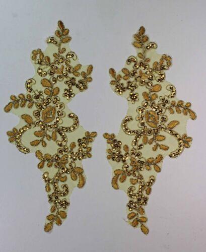 4 different Colour 2  x Floral Lace Applique Bridal Wedding Sequined Motifs #4