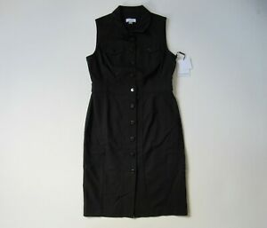 NWT-Calvin-Klein-Sleeveless-Sheath-in-Black-Stretch-Button-Front-Shirt-Dress-6