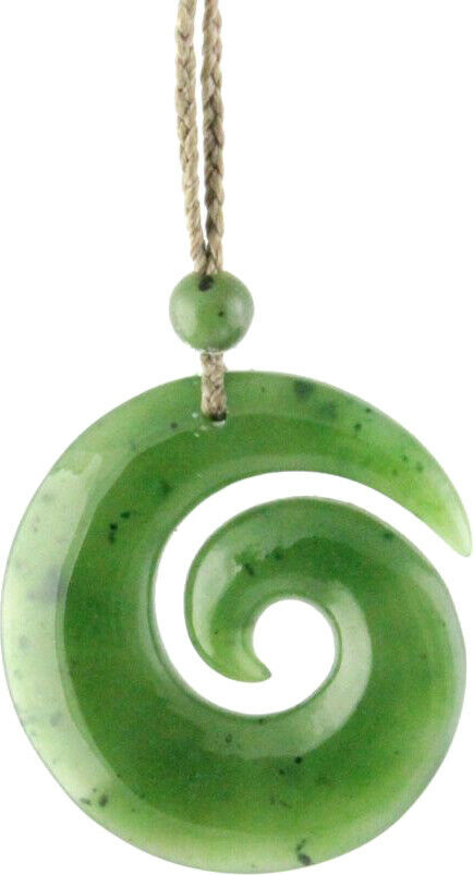 Genuine Natural Green Nephrite Jade Maori-Style Koru Spiral Pendant