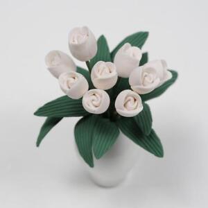 1-12-Puppenhaus-Miniatur-Pflanzen-Tulpen-Blume-mit-Keramik-Topf-Zimmer-NEU-K9T2