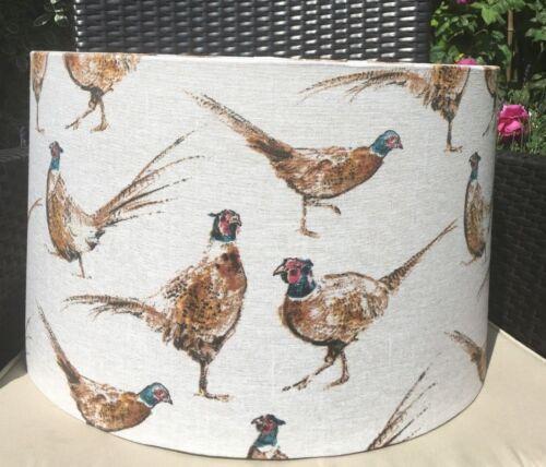 Faisan oiseaux Tissu Abat-jour lin naturel fond