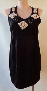 Ginger-Tree-black-white-sleeveless-beaded-dress-Size-16-LBD
