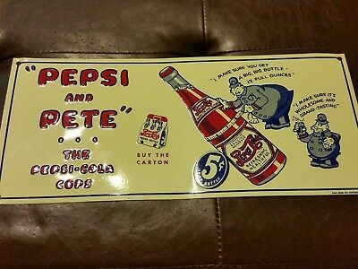 Pepsi Cola Pepsi and Pete The Cola Cops Soda Metal Sign