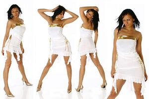 Bianco Vestito oro Abito Glamour Fashion Drappeggiato Fianchi Laccetti Sexy Sui BOEwUx