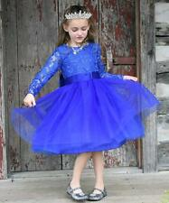 e646c784703 Flower Girl Dress Long Sleeves Lace Top Tulle Skirt Kids First Communion  Gowns