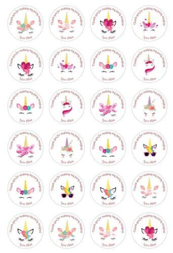 24 x 4 cm Personnalisé Licorne visage fête d/'anniversaire Stickers merci Sweet Cône