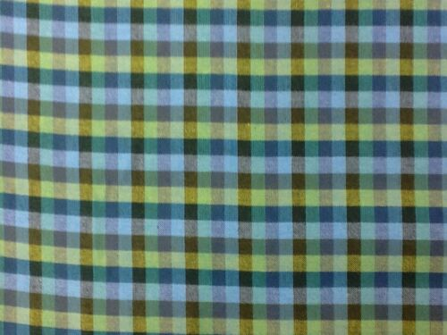 Peppered Check Cotton Craft Fabric Green And Blue 67 By The Half Metre