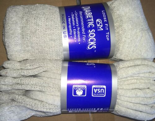 12 Pairs of GRAY Diabetic Socks and Non Binding Top Crew Socks 10-13 Made in USA