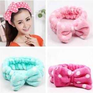 Women Girl Bowknot Hair Wrap Flannel Hair Band Makeup Wash Face ... 6548da459897