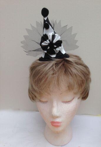 Black and White Harlequin Pierrot Style Mini Clown Fascinator