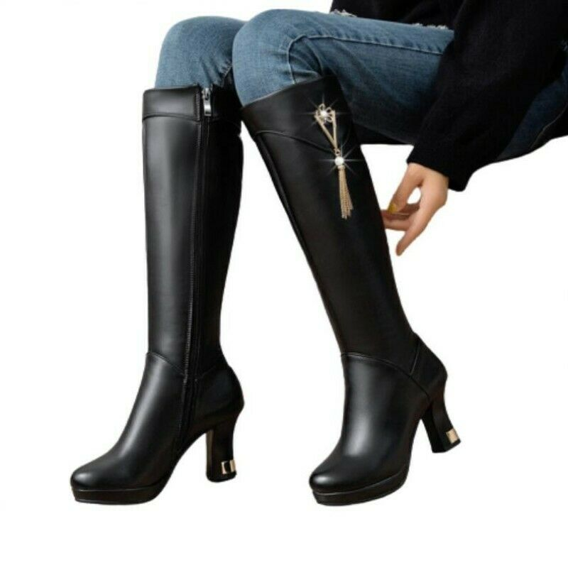 Women Winter Warm Rhinestone Block Heel Round Toe Knee High Boots Outdoor Punk D