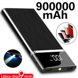 Portable Fast Charger Battery Pack 900000mAh Power Bank 2 USB for Mobile Phone