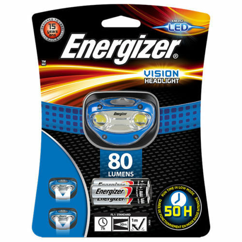 Energizer Vision LED Headlight Torch - 80 Lumens with 3 AAA batteries - BLUE