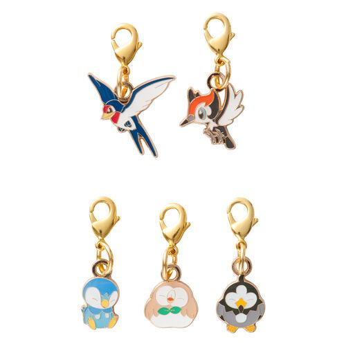 Pokemon Center Original MOKUROH'S GARDEN Metal Charm Rowlet set