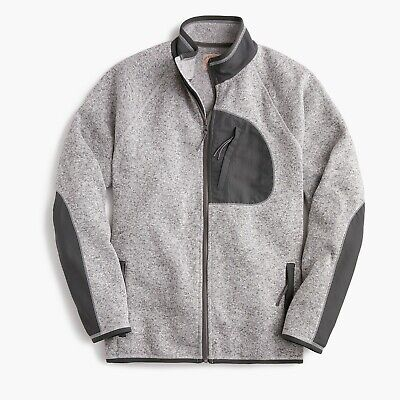 L /& XL men/'s poly shirt jacket $98 NWT J CREW Navy BLUE Polar Fleece M