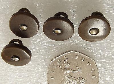 "4 vintage buttons brown Art Deco 5/8"" across circa 1920s 1930s SET F"