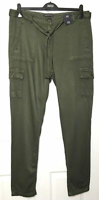 New With Tags Pure Originals Women/'s Khaki Trousers Full Zip Down Legs UK 8-12