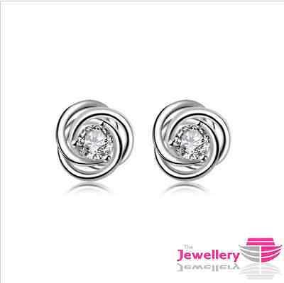 925 Sterling Silver Triple Swirl Crystal Earrings Jewellery Womens Ladies Gifts