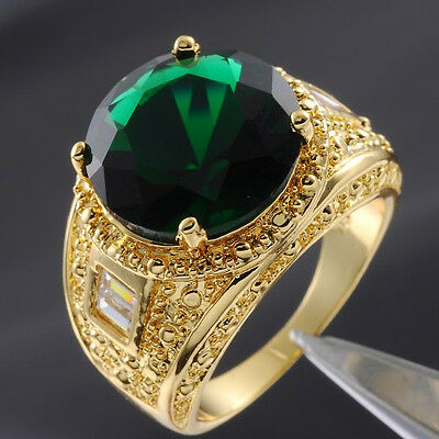 Size 9-13 Deluxe Mens Jewelry Green Emerald Yellow Gold Filled Huge Ring