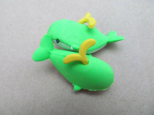 2x NOVELTY 3D PUZZLE CUTE WHALE ANIMALS JAPANESE STYLE RUBBERS ERASERS UK SELLER