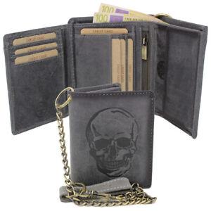 Bueffelleder-Geldboerse-Geldbeutel-Portemonnaie-Bikerboerse-Totenkopf-Kette-RFID