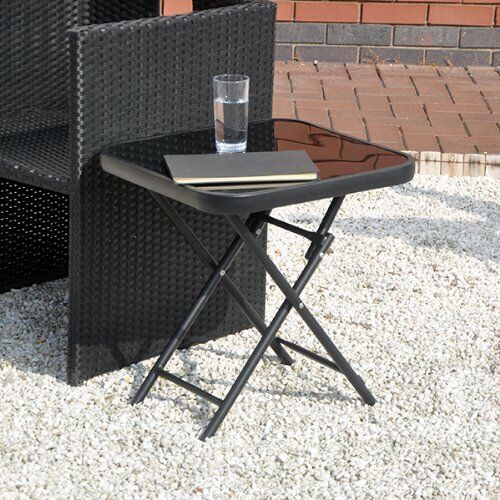 Gl Top Small Folding Side End Table Stool Drinks Garden Home Furniture Patio