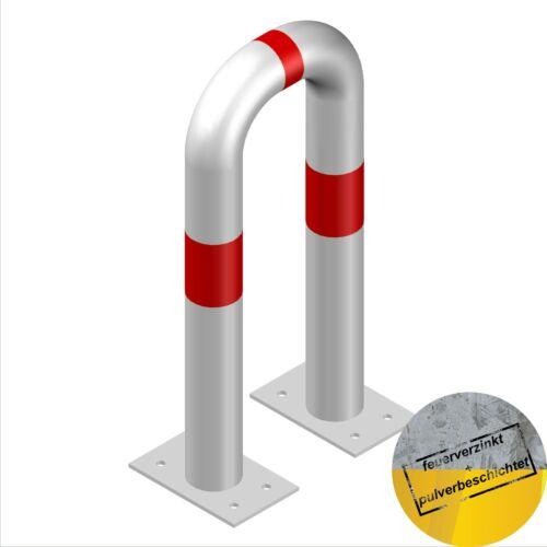 Schutzbügel Stahl Anfahrschutz Rammschutzbügel 300//650mm Stahl verzinkt weiß//rot