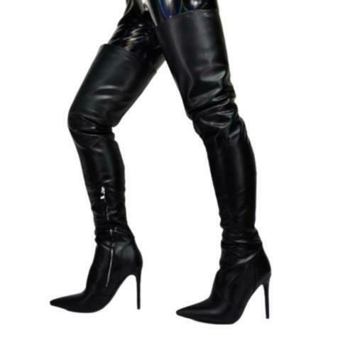 Details about  /Women/'s Pointy Toe Over The Knee Boots Stilettos High Heels Shoes 44 45 46 47  L