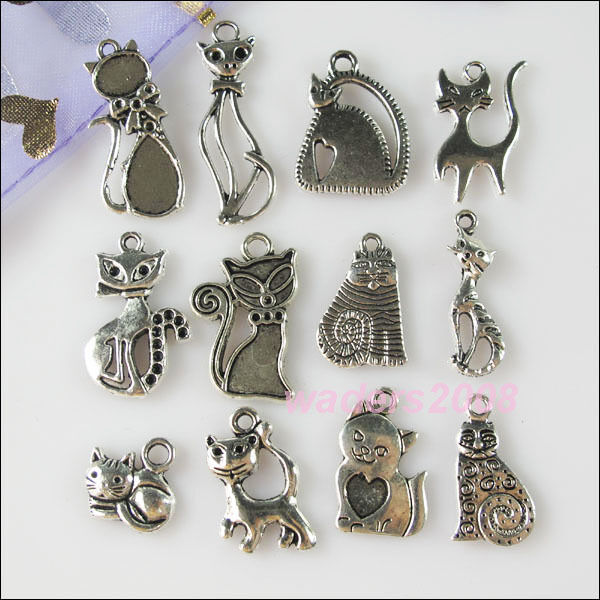 24Pcs Mixed Lots of Tibetan Silver Tone Cat Charms Pendants