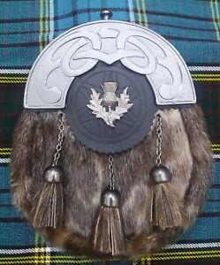 New Full Dress Kilt Sporran Faux Seal Skin celtic Cantle Antique Thistle Badge