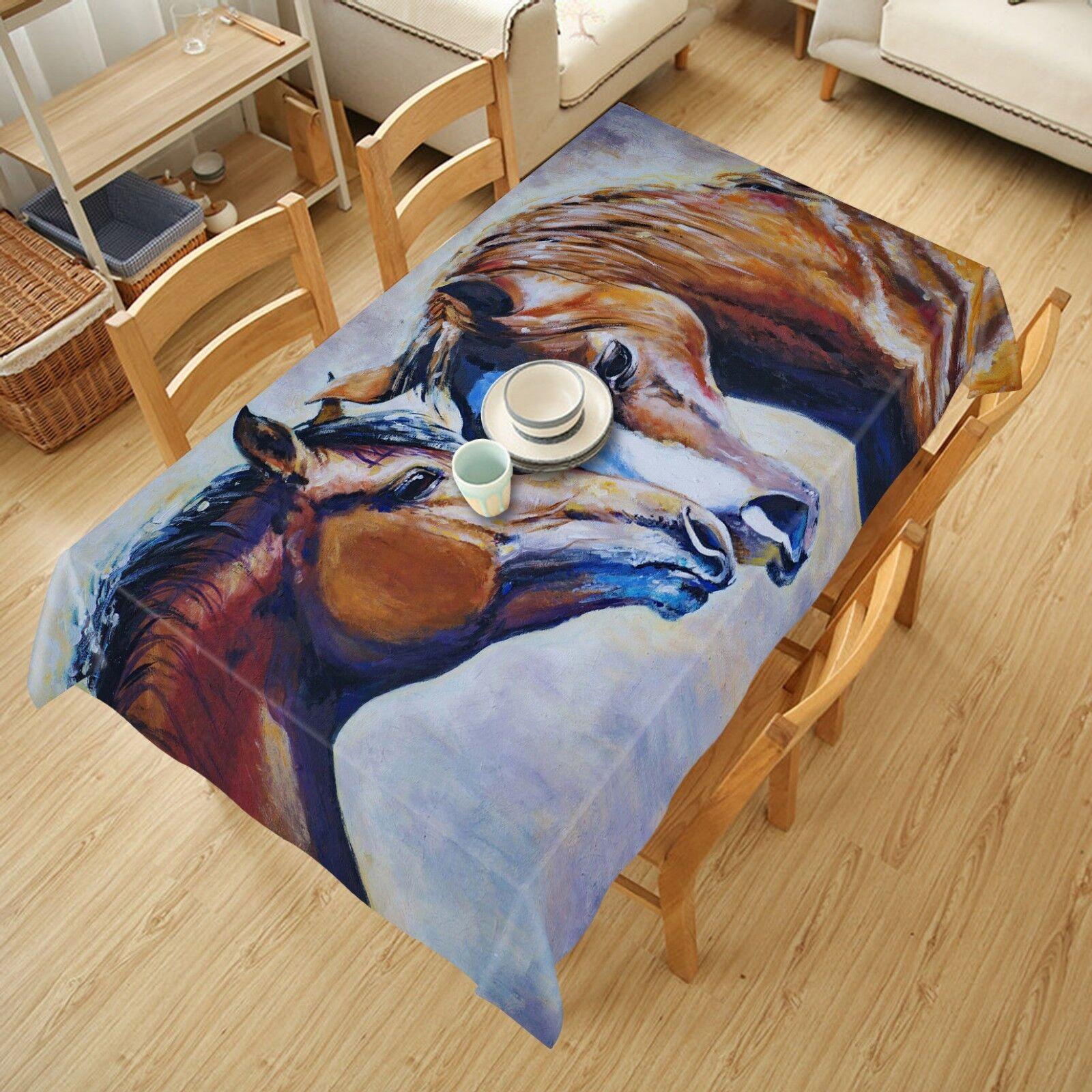 3D Horses Face 057 Tablecloth Table Cover Cloth Birthday Party Event AJ Lemon