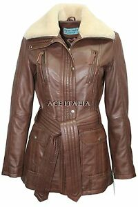 Fur Ladies Mid Jacket Brown Designer Leather Collar Length 2932 Trench Soft Coat 1q4ZS