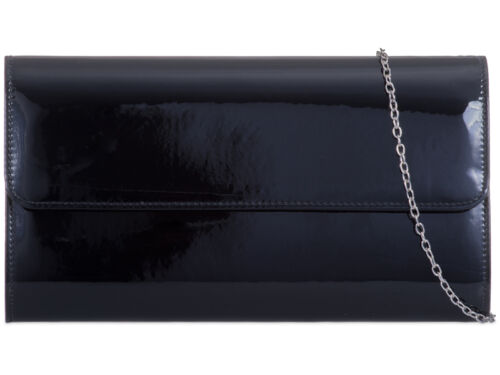 Ladies Fx Patent Metallic Clutch Bag Shiny Evening Bag Party Handbag Purse K457