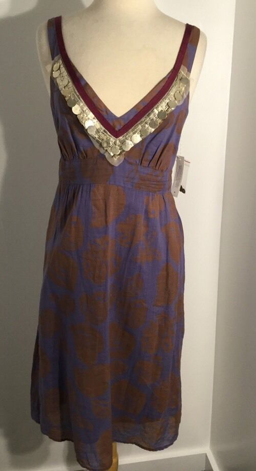 NWT Anthropologie Purple Leaf Beaded Accent Dress Size Medium