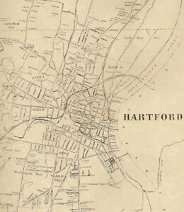 Hartford CT 1869 Detailed Street Maps with Businesses and Homeowners ...