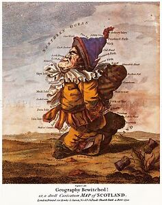 MAP-ANTIQUE-CARICATURE-DIGHTON-1794-SCOTLAND-LARGE-REPLICA-POSTER-PRINT-PAM0730