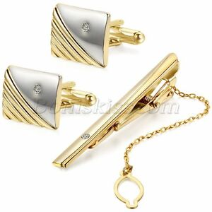 Polished-Gold-Tone-Metal-CZ-Cufflinks-Tie-Bar-Clasp-Clip-Set-Men-039-s-Modish-Gift