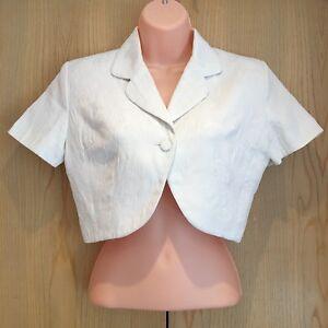 Arté Taille S Uk 6-8 Blanc Floral Cropped Veste Bolero Shrug Mariage Mariée Mère-afficher Le Titre D'origine