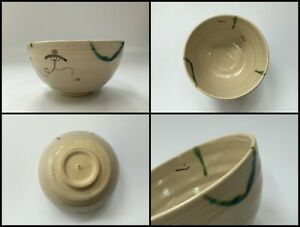 Japanese-Pottery-Tea-Ceremony-Bowl-Chawan-Vintage-Signed-Kyo-Ware-Paint-Z111